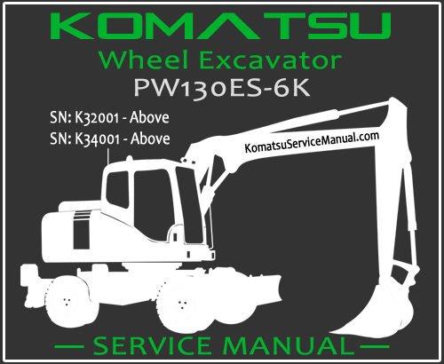 Komatsu PW130ES-6K Wheel Excavator Service Manual PDF SN K32001-K34001