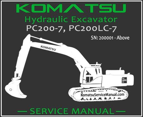 Komatsu PC200-7 PC200LC-7 Hydraulic Excavator Service Repair Manual SN 200001-Up