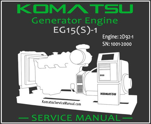 Komatsu Generator EG15S-1 Engine 2D92-1 Service Manual PDF SN 1001-2000